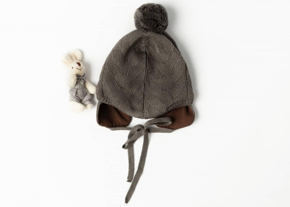 Lue Norfolk i merinoull med bomullsfôr, brun, 68/74