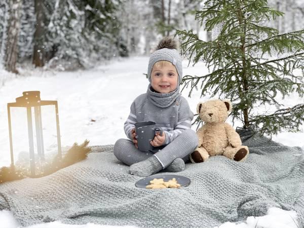Bilde av Mellomgrå ullsett med genser Letelle og baggybukse Chias
